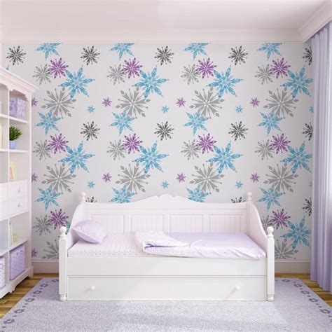 disney wallpaper for bedrooms disney frozen wallpaper with fabulous images of multicoloured snowflakes