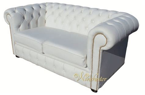 Chesterfield 2 Seater White Leather Sofa Brass Studs Chesterfield White Leather Sofa
