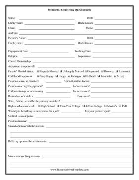 printable couples questionnaire premarital counseling questionnaire template