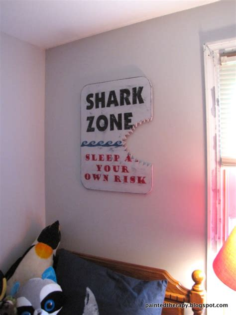 Shark Bedroom Curtains A Boy S Shark Bedroom For Shark Week Hometalk