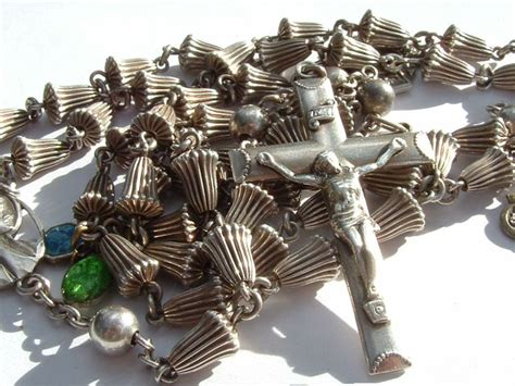 Wedding Bell Rosary by Solid Sterling Silver Creed Cross Rosary 1830 Antique