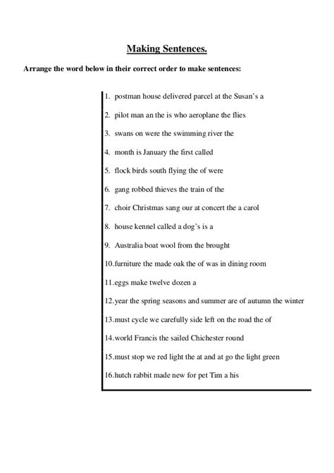 Arrange the jumbled sentences