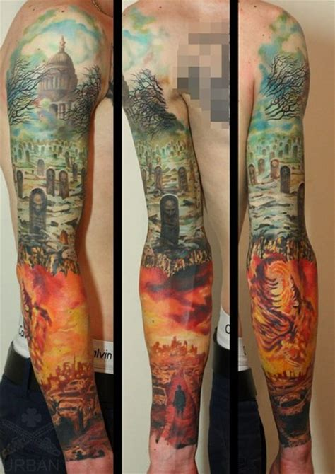 hell tattoos graveyard and hell sleeve best ideas gallery