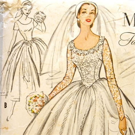 pattern dress with train mccall s 9677 misses 1950s wedding dress pattern bust 30