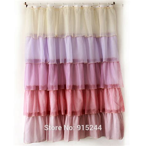 cheap ruffle curtains multi white pink fashion polyster waterproof curtains