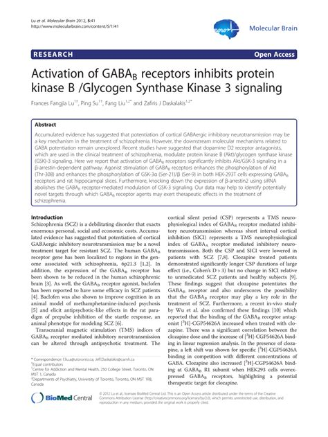 protein kinase b activation of gabab receptors inhibits protein kinase b