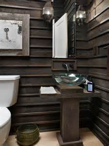 Innovative modern wainscoting panels in powder room rustic with