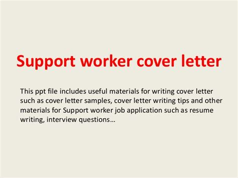 cover letter for support worker support worker cover letter