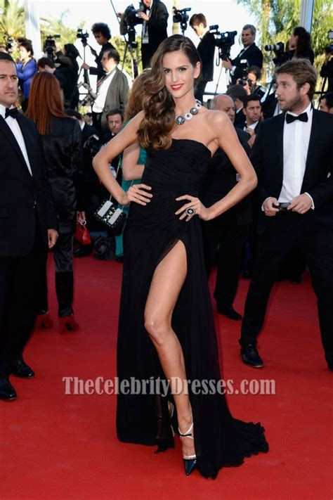 Izabel Goulart Black Evening Prom Dress Cannes Film
