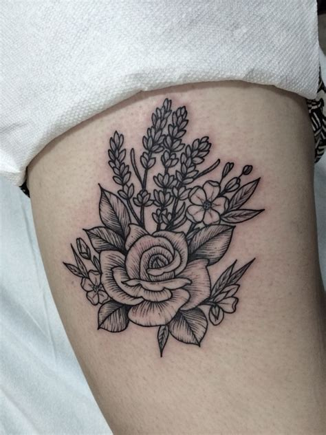 lilac rose tattoo woodcut of and lavender by lawes