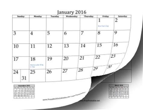 printable monthly 2016 year calendar printable 2016 mini month calendar