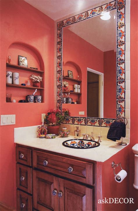 colorful mexican tile surround the built in mirror
