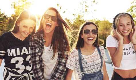 group teen girls laughing teenagers these days