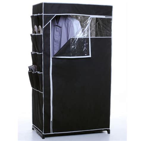 armoire d appoint penderie armoire penderie en toile et rangement chaussures noir maison fut 233 e