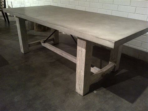 concrete and reclaimed wood rustic farm table mecox gardens