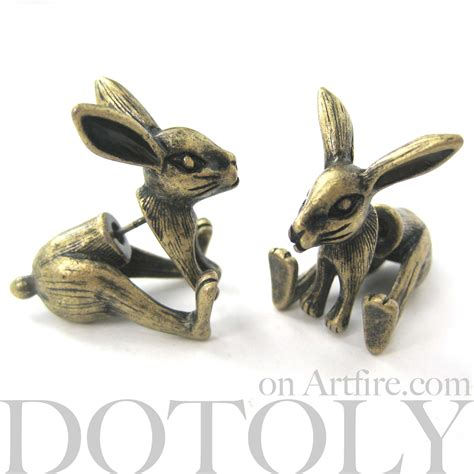 3d realistic bunny rabbit animal stud earrings
