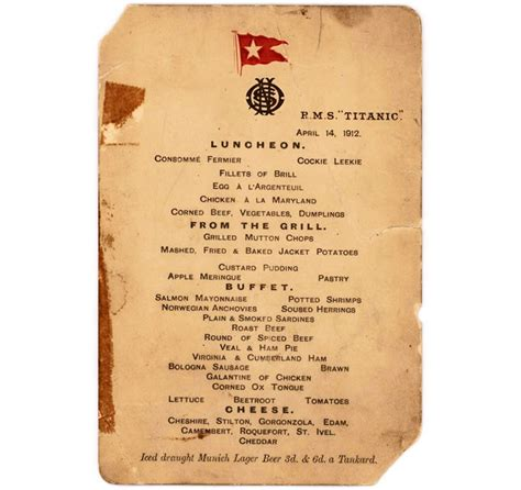 titanic class menu class menu from titanic s last luncheon sold for a