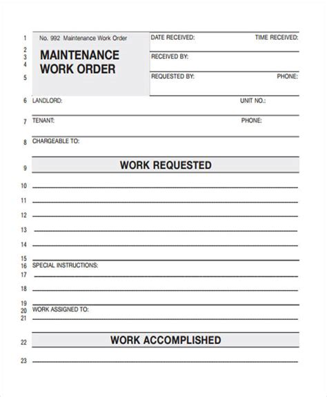 5 maintenance work order template download