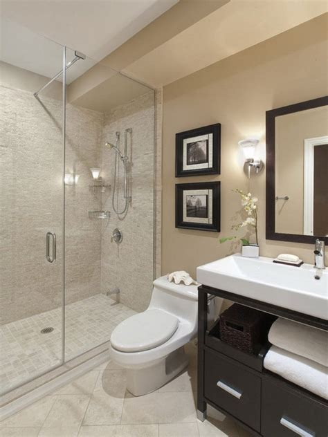 beige tile bathroom ideas sleek gray wall painted
