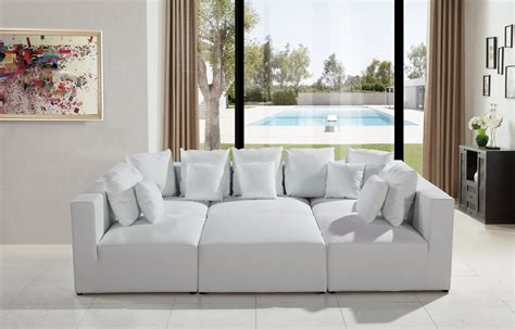modern white bonded leather sectional sofa divani casa 206 modern white bonded leather sectional sofa