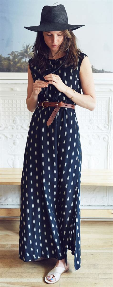 Bohemian Casual Midi Dress Import ikat maxi blue dress black hat boho fashion