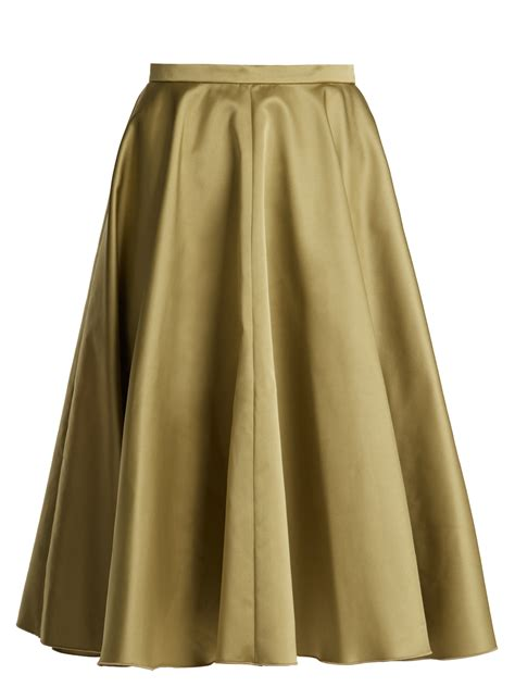 rochas pleated duchess satin midi skirt fashion style fan