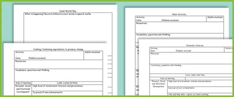 Eyfs Activity Observation Planning Sheets Free Early Years Primary Teaching Resources Activity Planning Sheet Template