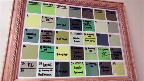 Inexpensive Monthly Calendars Turn Paint Chips Into A Erase Calendar