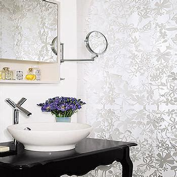 black and silver bathroom wallpaper glamorous powder rooms transitional bathroom