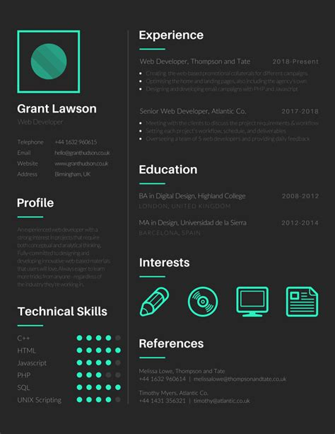 free visual resume templates 17 free tools to create outstanding visual resume