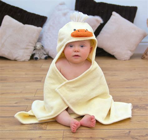 personalised cuddly duck baby towel by bathing bunnies