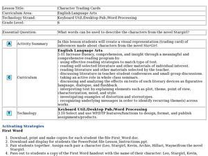 Character Trading Cards Template 3rd Grade by Character Trading Cards Lesson Plan For 6th Grade Lesson
