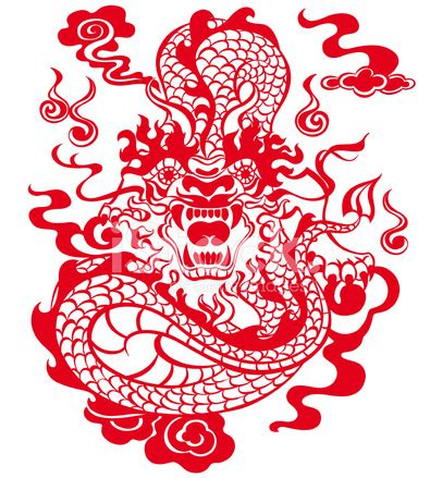 chinese year of the dragon 2012 (red) stock vector