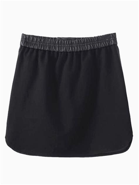 black pu pencil skirt with tie