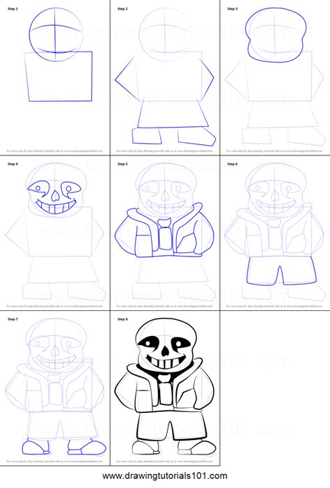 doodle drawing tutorials how to draw sans from undertale printable step by step