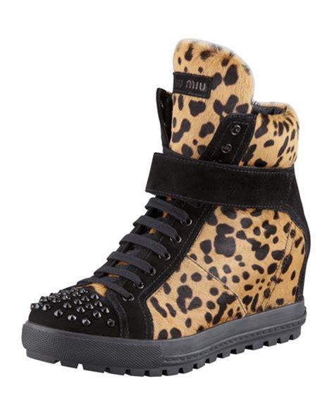 leopard sneaker wedges miu miu leopard print wedge sneaker
