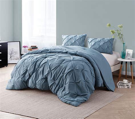 blue twin xl comforter smoke blue pin tuck twin xl comforter