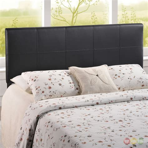 black leather headboard full oliver modern faux leather upholstered full headboard black