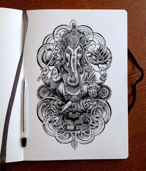 colour my sketchbook unearthed ganesha ink by bennett klein on