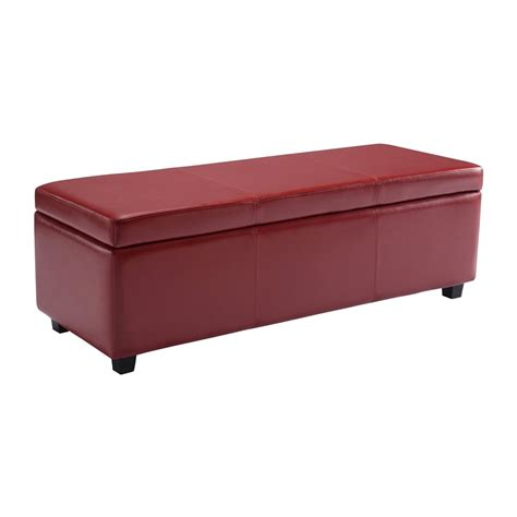 Rectangle Storage Ottoman Simpli Home Axcf18 Avalon Large Rectangular Storage Ottoman Bench Lowe S Canada