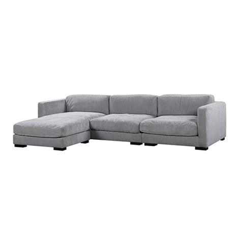 renior 3 seater light grey corner sofa with chaise