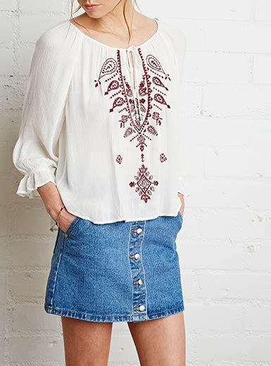 Blouse Fadim Jumbo White womens peasant blouse white with printed embroidery