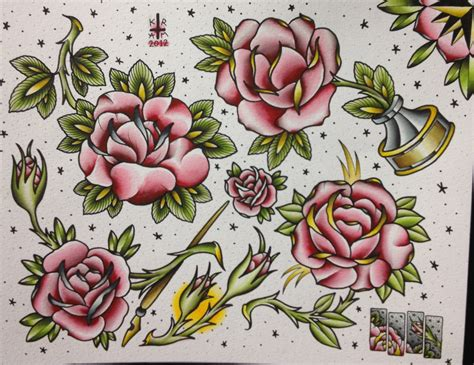 flash rose tattoo flash sheets parrish page 2
