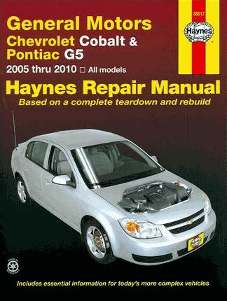 motor auto repair manual 2005 chevrolet impala on board diagnostic system chevy cobalt pontiac g5 pursuit repair manual 2005 2010 haynes