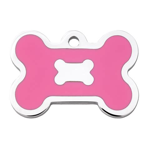 puppy id tags tag pink epoxy chrome bone personalized engraved pet id tag large petco