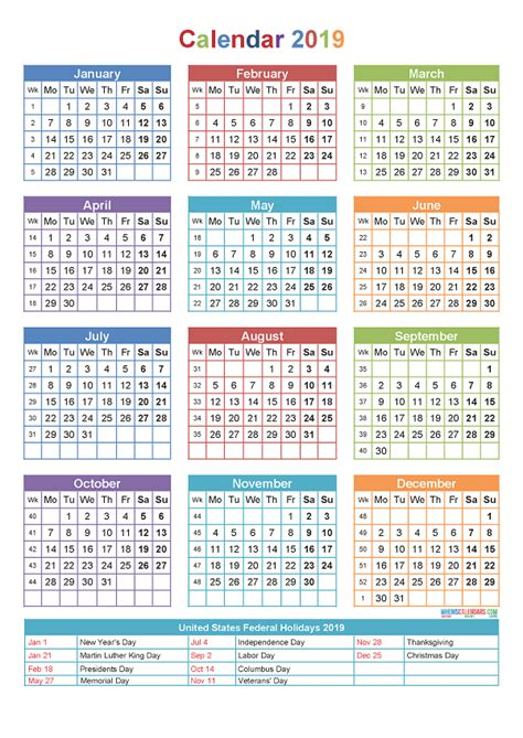 Calendar 2019 Printable With Holidays Printable Yearly Calendar 2019 With Holidays Template