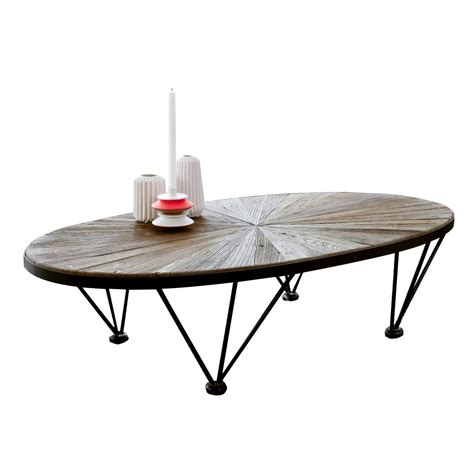 Elm Coffee Table Elm And Metal Coffee Table Lancelot Living Room Tables 140x80 Tikamoon
