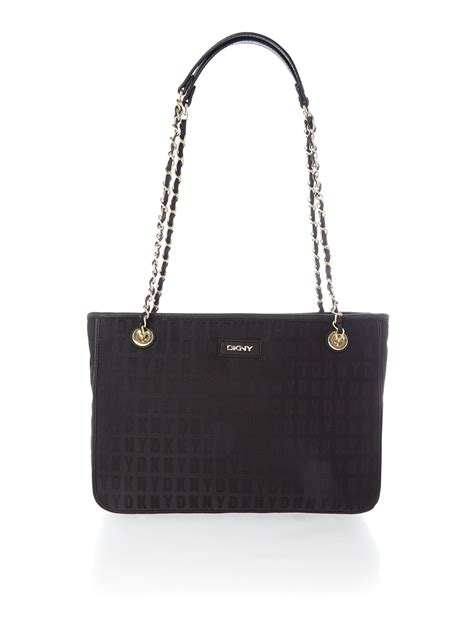 Chain Tote Bags Black dkny black chain tote bag in black lyst