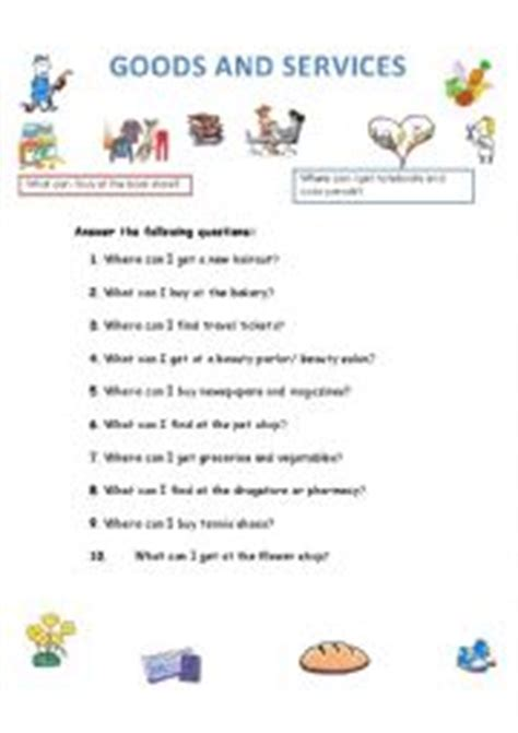 Goods And Services Worksheets by Worksheets Goods And Services