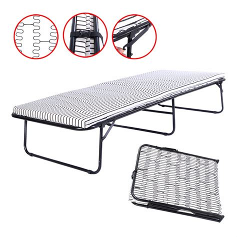 Folding Metal Guest Bed Spring Steel Frame Mattress Cot Metal Frame Bed With Mattress